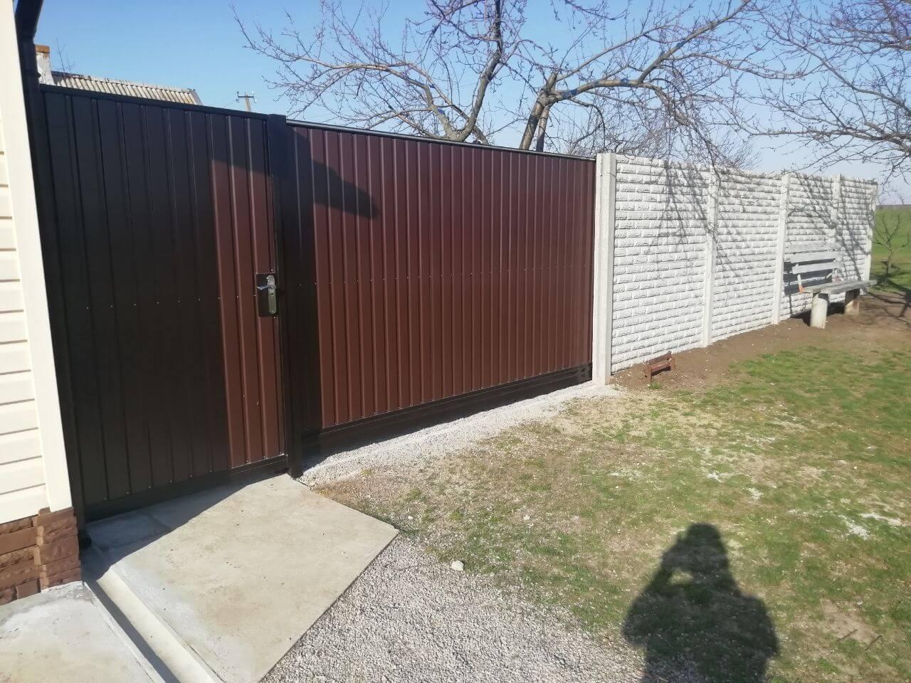 Забор с откатными воротами с.Оленовка