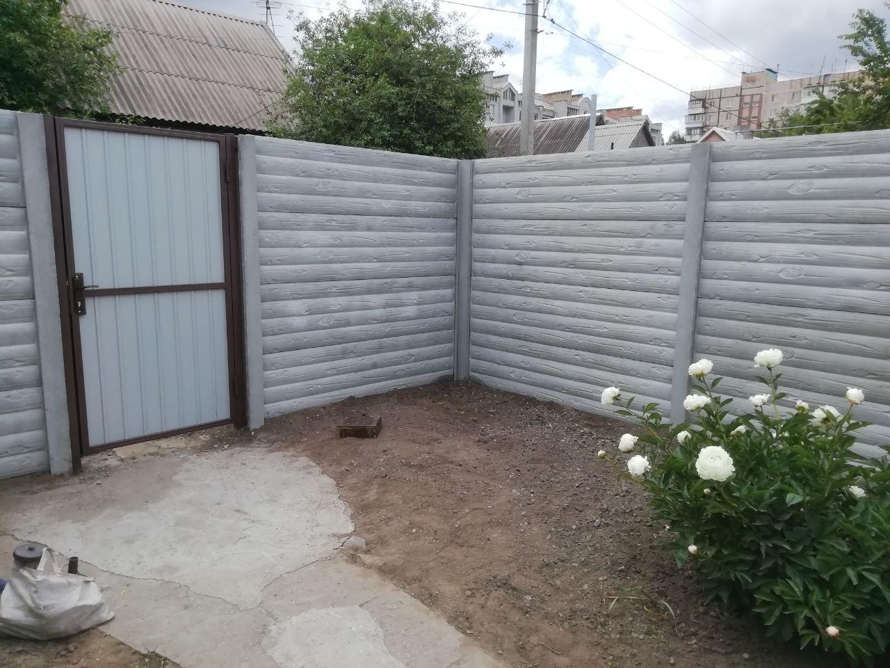 Установка бетонного забора и калитки г.Запорожья ул Марганцевая д.3